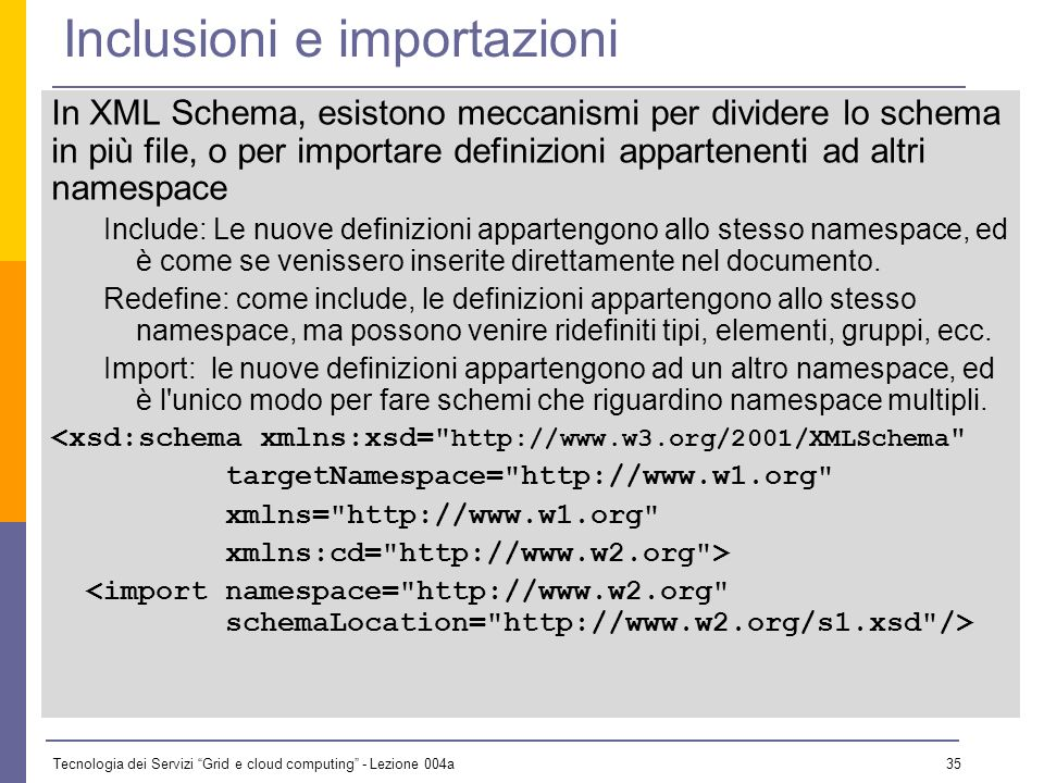 Tecnologia dei Servizi Grid e cloud computing - Lezione 004a 34 Annotazioni Nei DTD lunico posto dove mettere note e istruzioni di compilazione sono i commenti.