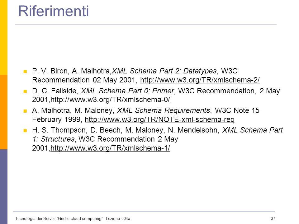 Tecnologia dei Servizi Grid e cloud computing - Lezione 004a 36 Conclusioni Abbiamo parlato di XML Schema: Motivazioni e status Organizzazione dei tipi Definizione di elementi ed attributi Content model, gruppi ed altri aspetti