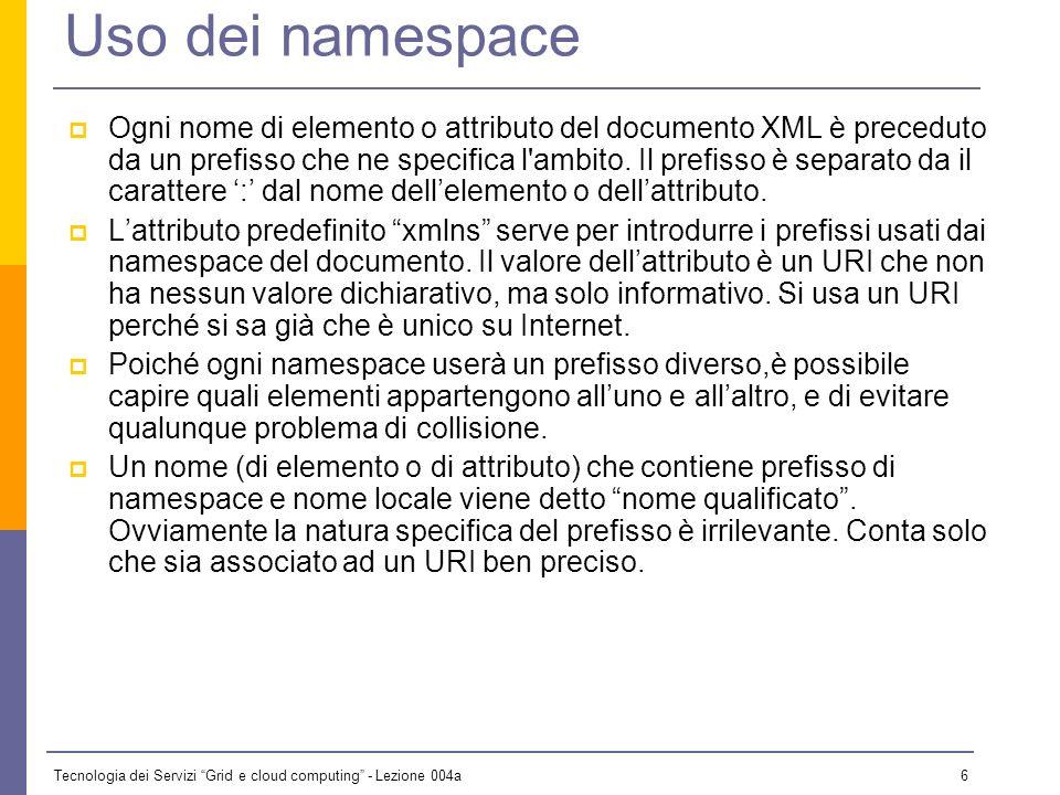 Tecnologia dei Servizi Grid e cloud computing - Lezione 004a 5 Un esempio di namespace Supponiamo che Amazon Italia voglia mettere il proprio database su Web: Book Review 3 Uomini in barca Author Price Pages Date Jerome K.
