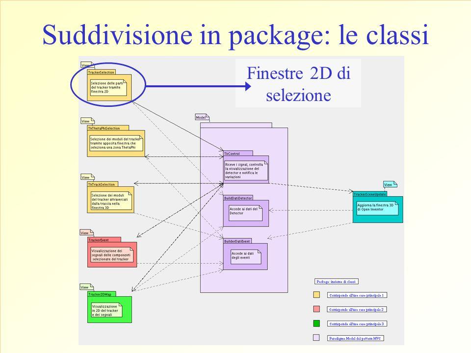 Suddivisione in package: le classi Finestre 2D di selezione