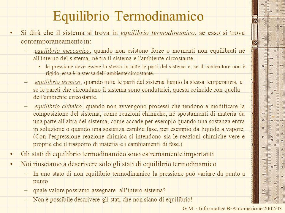 G.M. - Informatica B-Automazione 2002/03 Equilibrio Termodinamico Si dirà che il sistema si trova in equilibrio termodinamico, se esso si trova contem