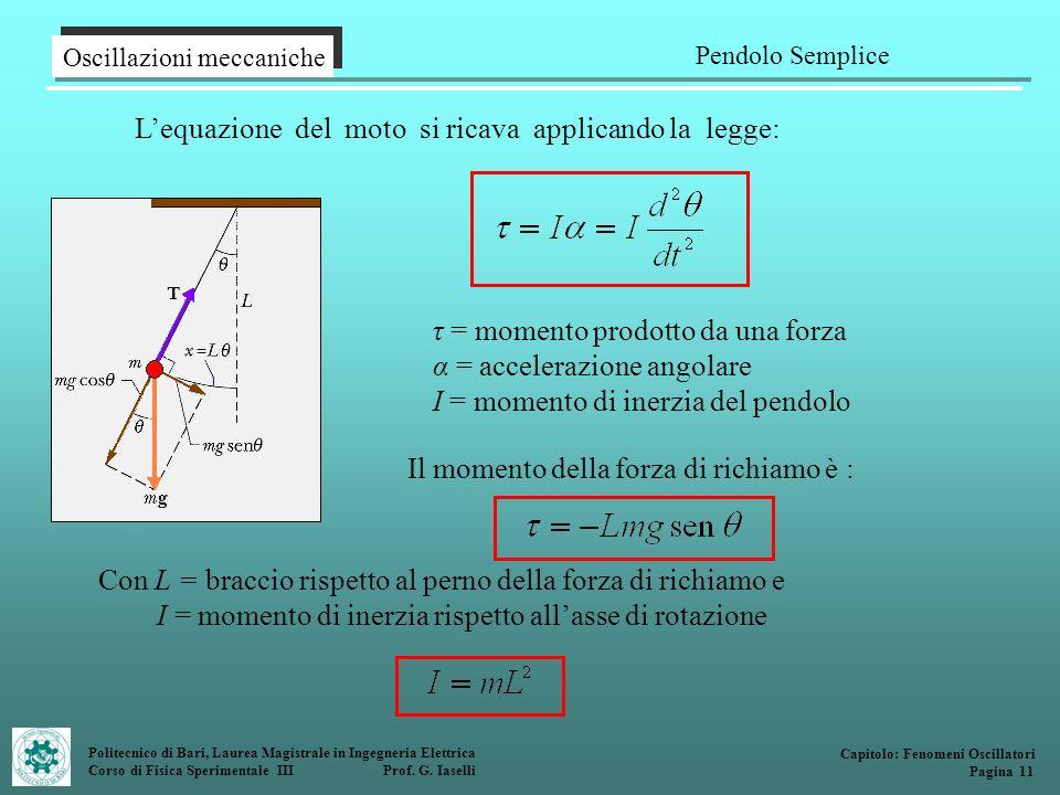 Politecnico di Bari, Laurea Magistrale in Ingegneria Elettrica Corso di Fisica Sperimentale III Prof. G. Iaselli Lequazione del moto si ricava applica