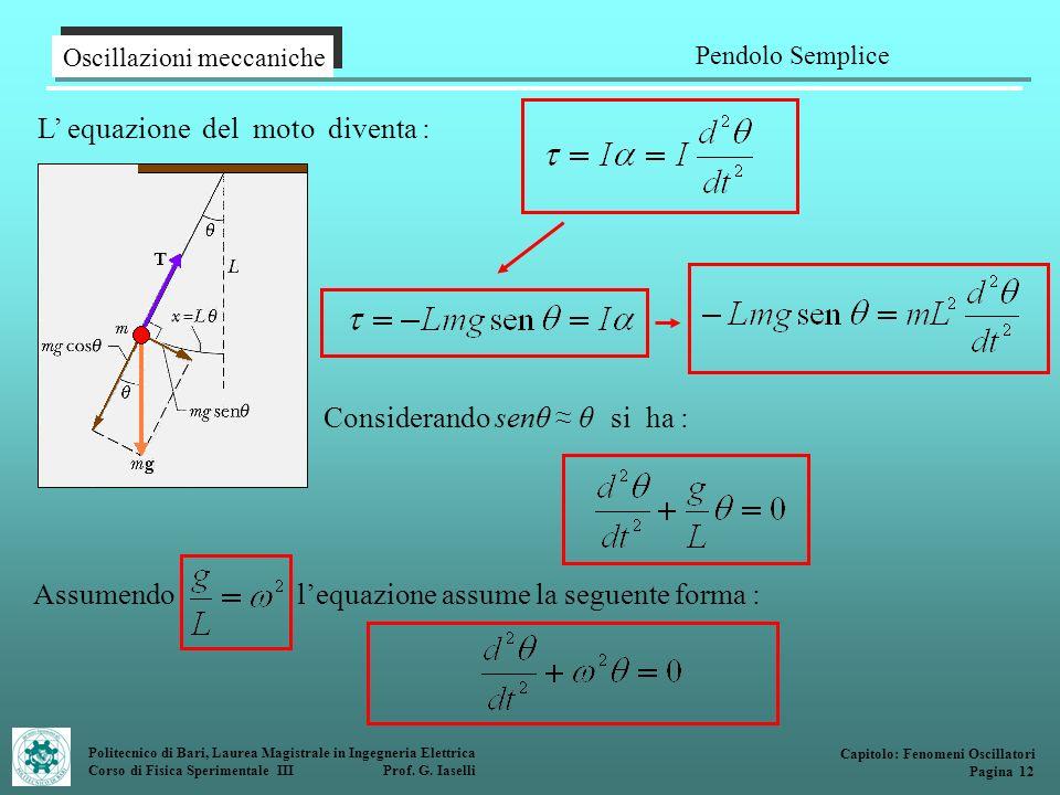 Politecnico di Bari, Laurea Magistrale in Ingegneria Elettrica Corso di Fisica Sperimentale III Prof. G. Iaselli L equazione del moto diventa : Oscill