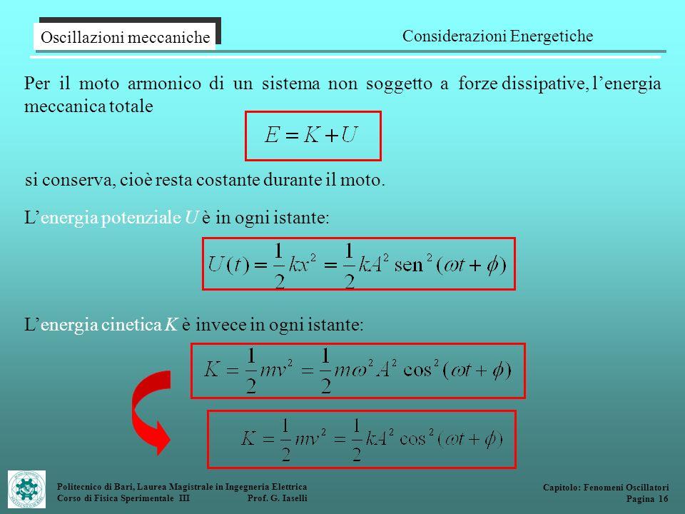 Politecnico di Bari, Laurea Magistrale in Ingegneria Elettrica Corso di Fisica Sperimentale III Prof. G. Iaselli Per il moto armonico di un sistema no