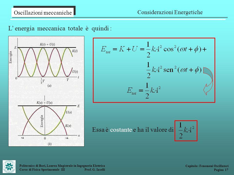 Politecnico di Bari, Laurea Magistrale in Ingegneria Elettrica Corso di Fisica Sperimentale III Prof. G. Iaselli L energia meccanica totale è quindi :