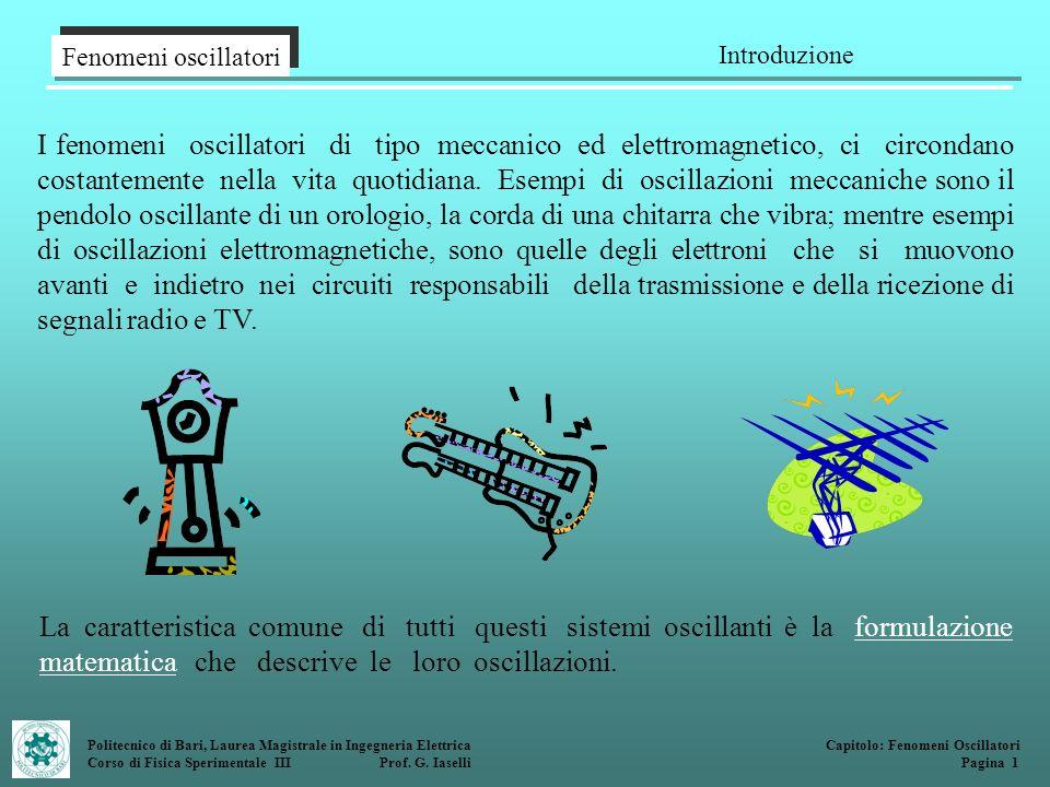 Fenomeni oscillatori Introduzione Politecnico di Bari, Laurea Magistrale in Ingegneria Elettrica Corso di Fisica Sperimentale III Prof. G. Iaselli Cap