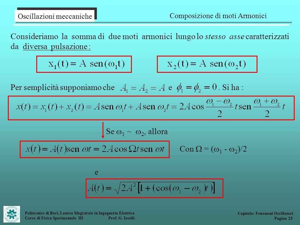 Politecnico di Bari, Laurea Magistrale in Ingegneria Elettrica Corso di Fisica Sperimentale III Prof. G. Iaselli Oscillazioni meccaniche Composizione