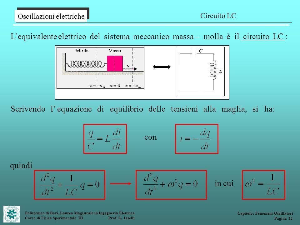Politecnico di Bari, Laurea Magistrale in Ingegneria Elettrica Corso di Fisica Sperimentale III Prof. G. Iaselli Oscillazioni elettriche Circuito LC C