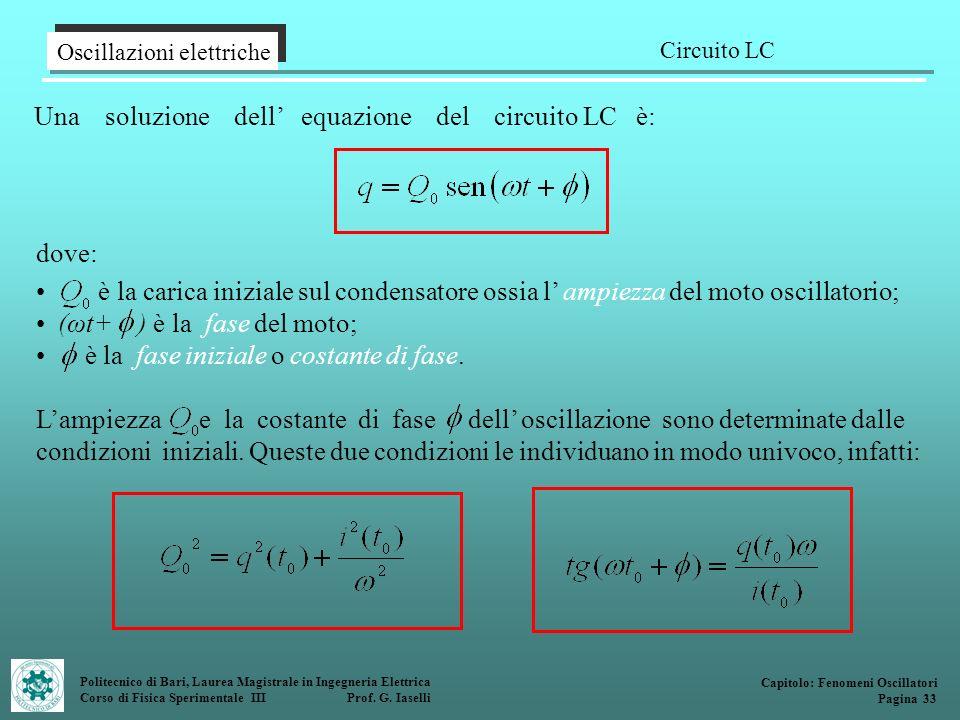 Politecnico di Bari, Laurea Magistrale in Ingegneria Elettrica Corso di Fisica Sperimentale III Prof. G. Iaselli Una soluzione dell equazione del circ