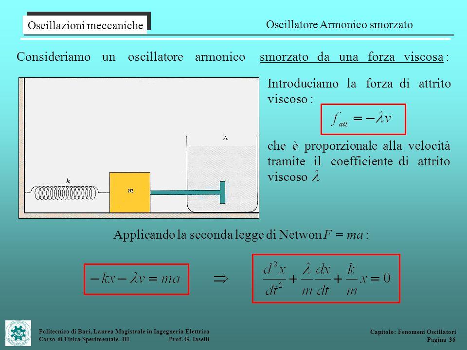 Politecnico di Bari, Laurea Magistrale in Ingegneria Elettrica Corso di Fisica Sperimentale III Prof. G. Iaselli Consideriamo un oscillatore armonico