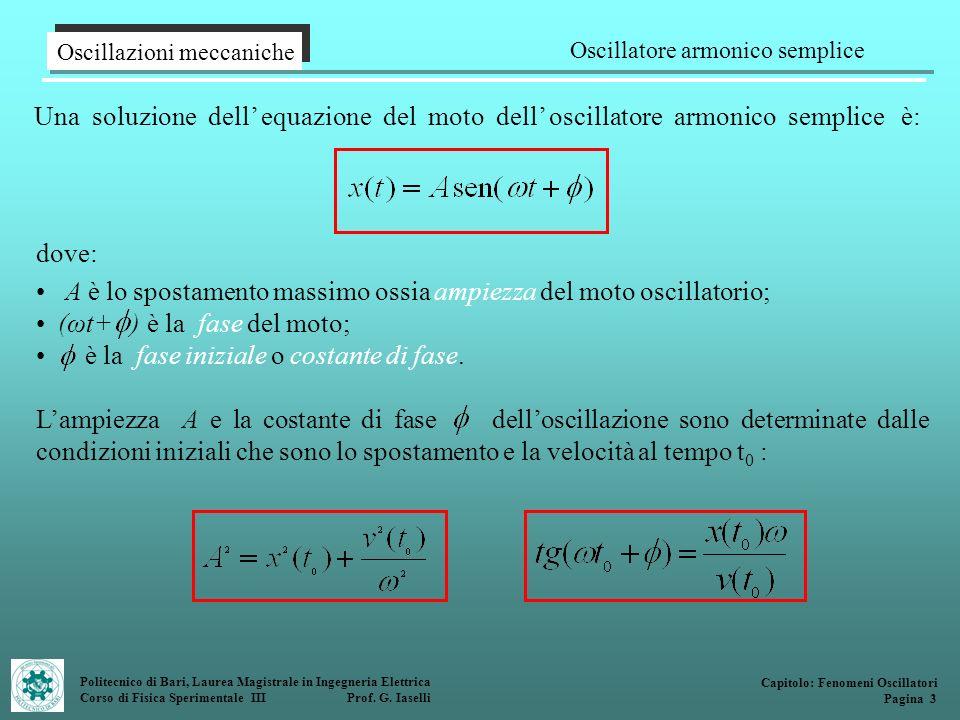 Politecnico di Bari, Laurea Magistrale in Ingegneria Elettrica Corso di Fisica Sperimentale III Prof. G. Iaselli Una soluzione dell equazione del moto