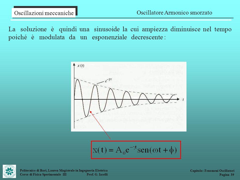 Politecnico di Bari, Laurea Magistrale in Ingegneria Elettrica Corso di Fisica Sperimentale III Prof. G. Iaselli La soluzione è quindi una sinusoide l