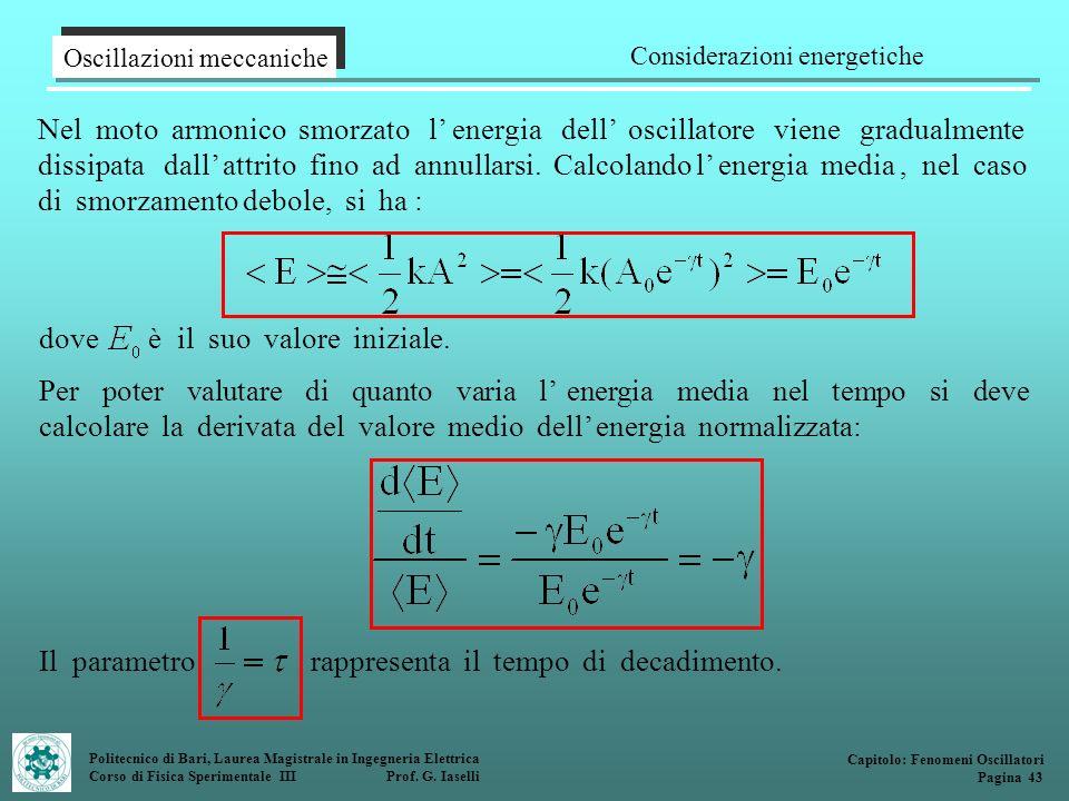 Politecnico di Bari, Laurea Magistrale in Ingegneria Elettrica Corso di Fisica Sperimentale III Prof. G. Iaselli Nel moto armonico smorzato l energia