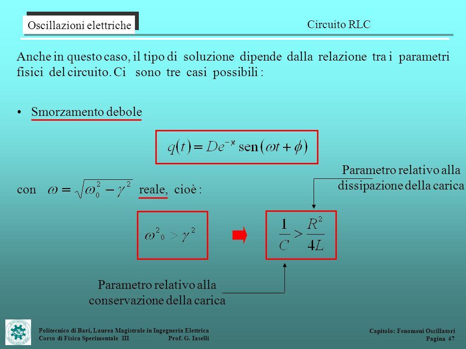 Politecnico di Bari, Laurea Magistrale in Ingegneria Elettrica Corso di Fisica Sperimentale III Prof. G. Iaselli Anche in questo caso, il tipo di solu