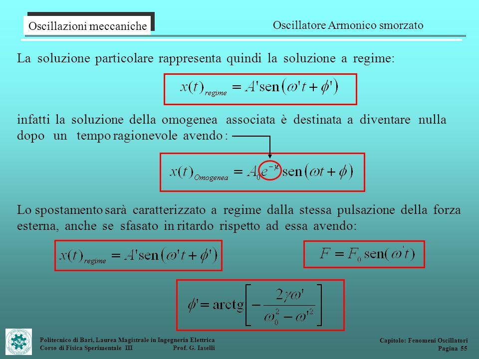 Politecnico di Bari, Laurea Magistrale in Ingegneria Elettrica Corso di Fisica Sperimentale III Prof. G. Iaselli La soluzione particolare rappresenta