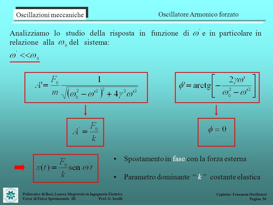 Politecnico di Bari, Laurea Magistrale in Ingegneria Elettrica Corso di Fisica Sperimentale III Prof. G. Iaselli Analizziamo lo studio della risposta