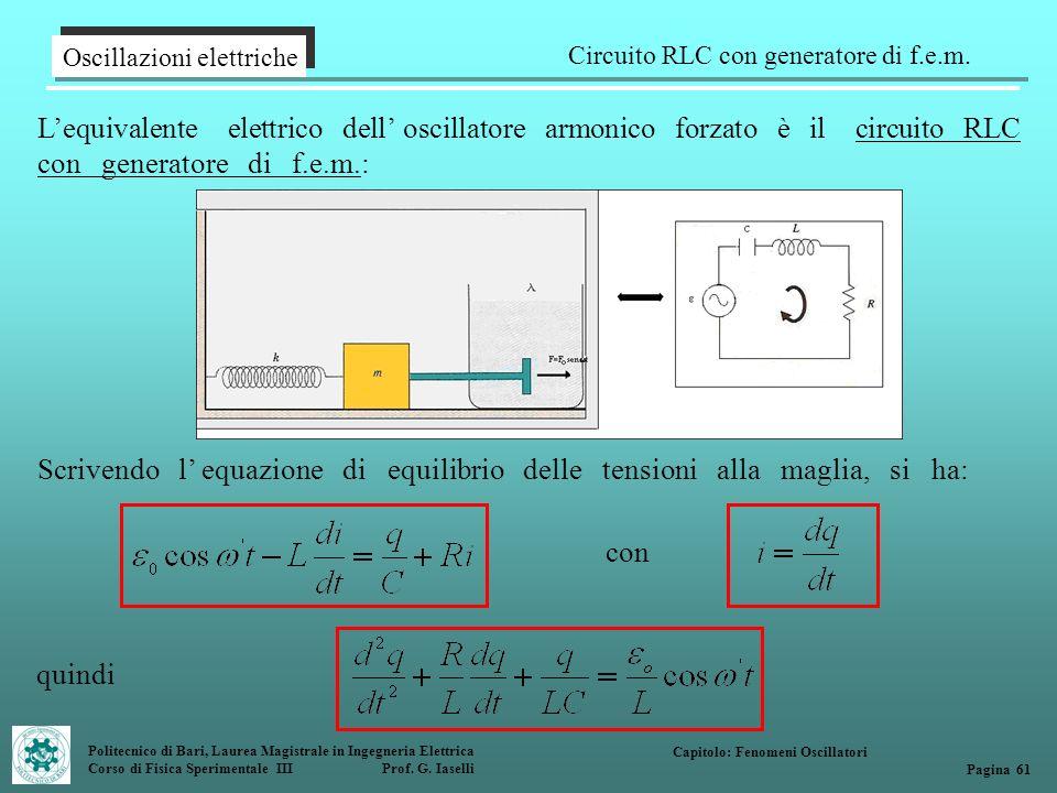 Politecnico di Bari, Laurea Magistrale in Ingegneria Elettrica Corso di Fisica Sperimentale III Prof. G. Iaselli Oscillazioni elettriche Circuito RLC