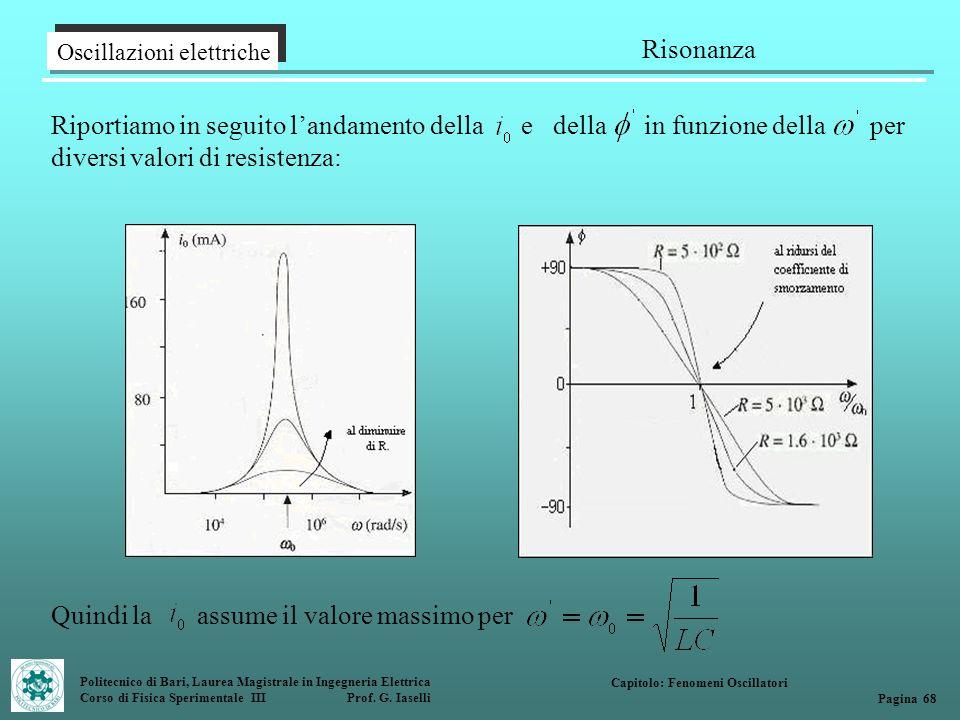 Politecnico di Bari, Laurea Magistrale in Ingegneria Elettrica Corso di Fisica Sperimentale III Prof. G. Iaselli Oscillazioni elettriche Risonanza Cap