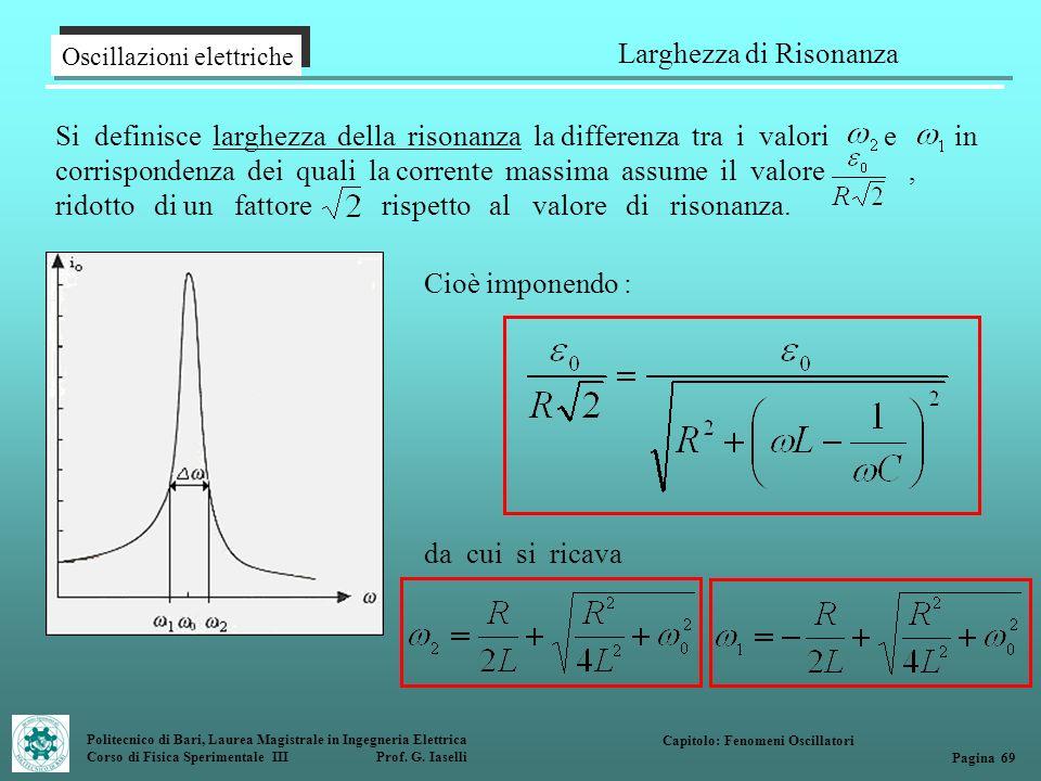 Politecnico di Bari, Laurea Magistrale in Ingegneria Elettrica Corso di Fisica Sperimentale III Prof. G. Iaselli Oscillazioni elettriche Larghezza di