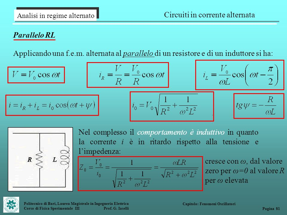 Politecnico di Bari, Laurea Magistrale in Ingegneria Elettrica Corso di Fisica Sperimentale III Prof. G. Iaselli Analisi in regime alternato Circuiti