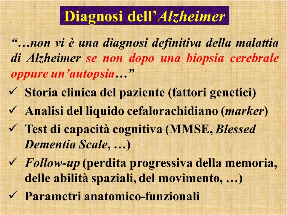 Diagnosi dellAlzheimer …non vi è una diagnosi definitiva della malattia di Alzheimer se non dopo una biopsia cerebrale oppure unautopsia… Storia clini