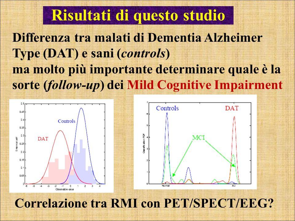 Correlazione tra RMI con PET/SPECT/EEG? Risultati di questo studio Differenza tra malati di Dementia Alzheimer Type (DAT) e sani (controls) ma molto p