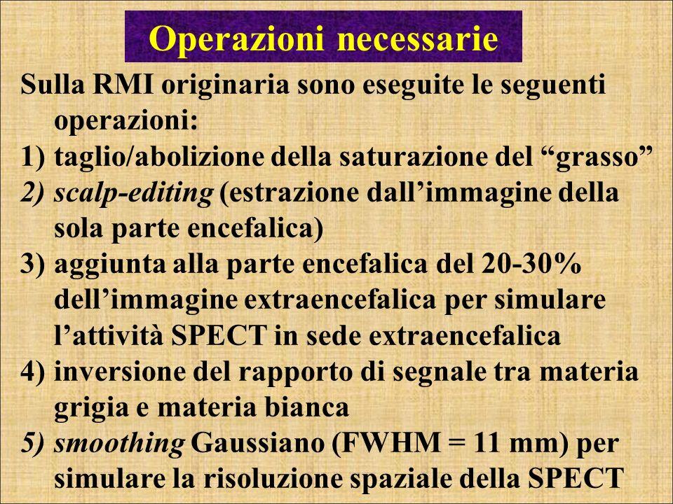 Operazioni necessarie Sulla RMI originaria sono eseguite le seguenti operazioni: 1)taglio/abolizione della saturazione del grasso 2)scalp-editing (est