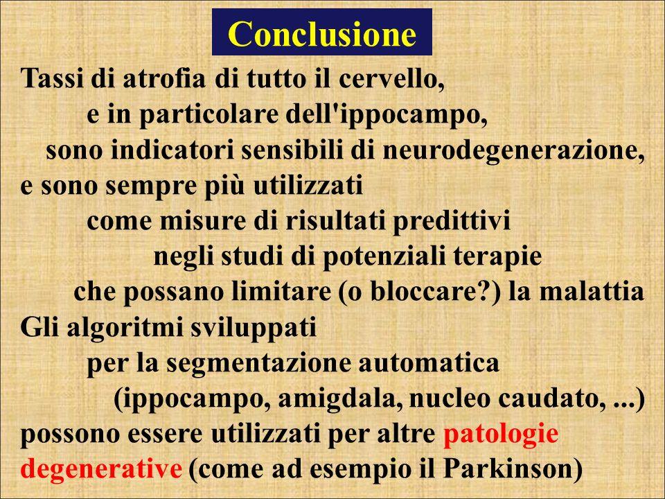 Conclusione Tassi di atrofia di tutto il cervello, e in particolare dell'ippocampo, sono indicatori sensibili di neurodegenerazione, e sono sempre più