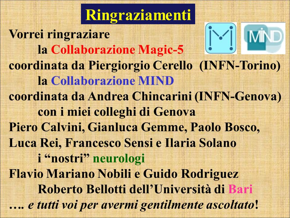 Ringraziamenti Vorrei ringraziare la Collaborazione Magic-5 coordinata da Piergiorgio Cerello (INFN-Torino) la Collaborazione MIND coordinata da Andre