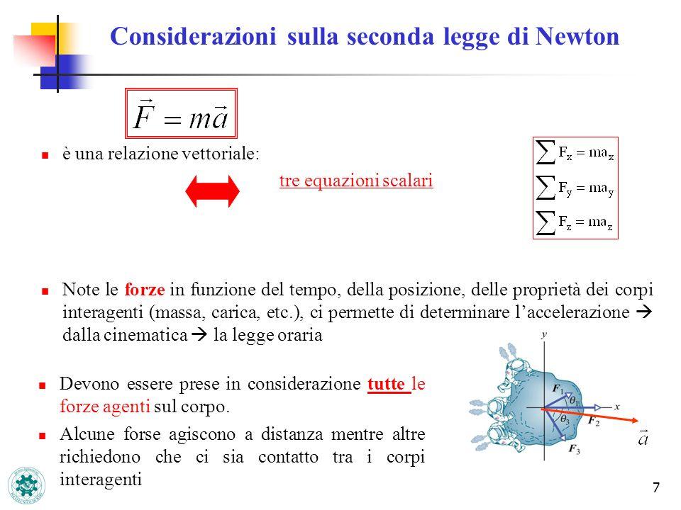 7 Considerazioni sulla seconda legge di Newton è una relazione vettoriale: tre equazioni scalari Note le forze in funzione del tempo, della posizione,