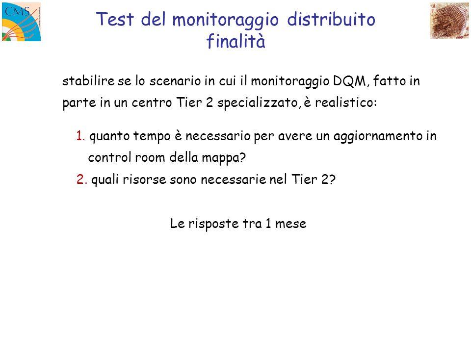 Test del monitoraggio distribuito finalità stabilire se lo scenario in cui il monitoraggio DQM, fatto in parte in un centro Tier 2 specializzato, è realistico: 1.