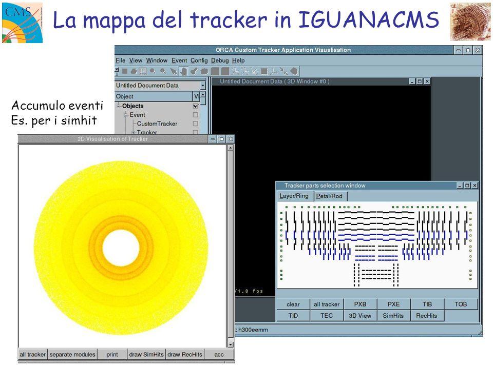 La mappa del tracker in IGUANACMS Accumulo eventi Es. per i simhit