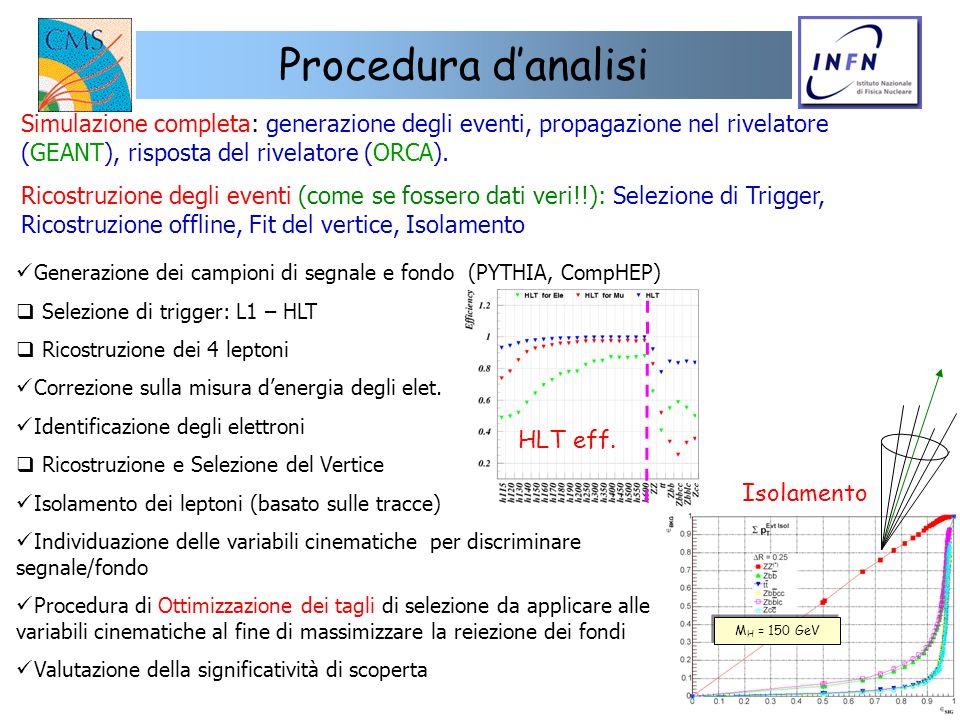 17 Procedura danalisi Simulazione completa: generazione degli eventi, propagazione nel rivelatore (GEANT), risposta del rivelatore (ORCA). Ricostruzio