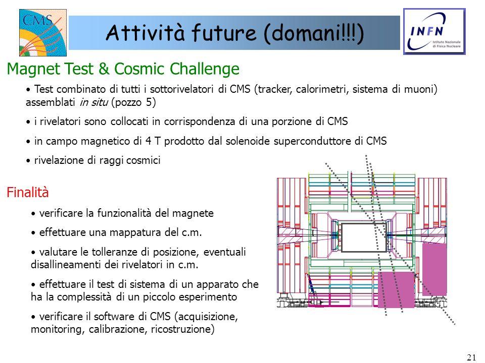 21 Attività future (domani!!!) Magnet Test & Cosmic Challenge Test combinato di tutti i sottorivelatori di CMS (tracker, calorimetri, sistema di muoni