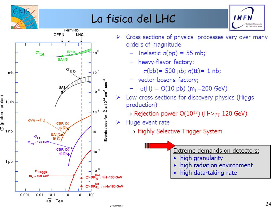 24 La fisica del LHC Extreme demands on detectors: high granularity high radiation environment high data-taking rate Cross-sections of physics process