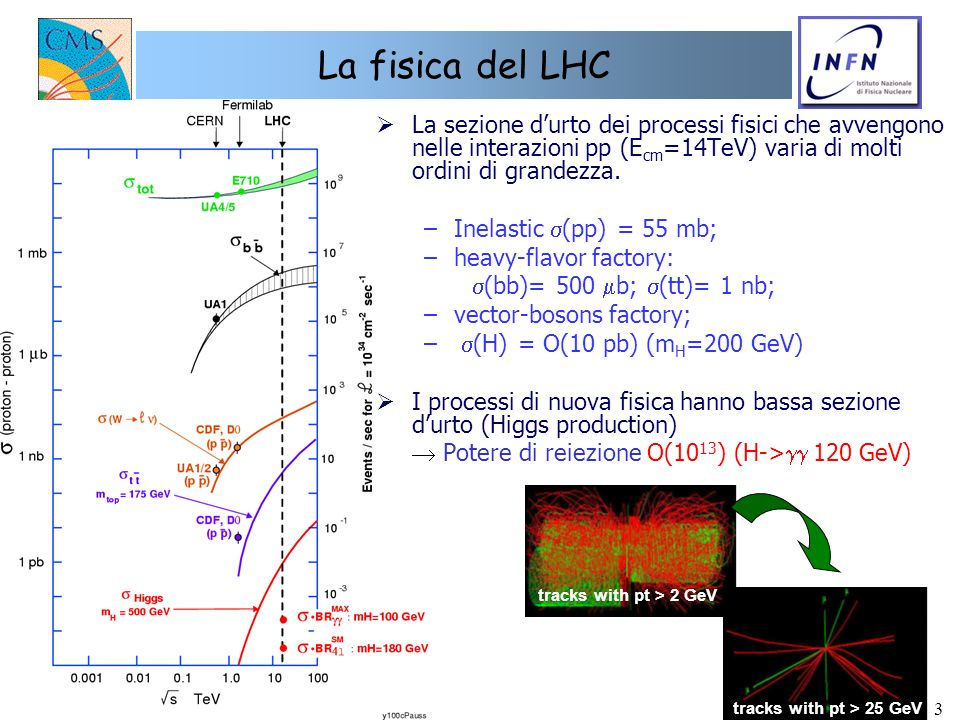 3 La fisica del LHC La sezione durto dei processi fisici che avvengono nelle interazioni pp (E cm =14TeV) varia di molti ordini di grandezza. –Inelast