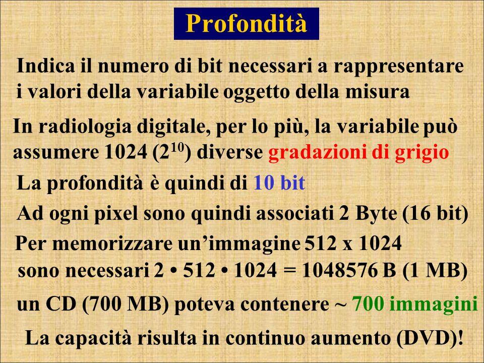Profondità Indica il numero di bit necessari a rappresentare i valori della variabile oggetto della misura In radiologia digitale, per lo più, la vari