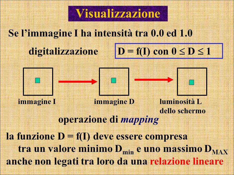 Visualizzazione D = f(I) con 0 D 1 Se limmagine I ha intensità tra 0.0 ed 1.0 immagine Iluminosità L dello schermo immagine D operazione di mapping la