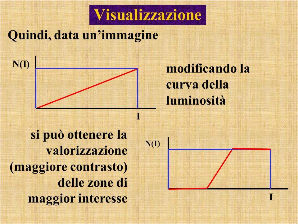 Visualizzazione Quindi, data unimmagine modificando la curva della luminosità I N(I) I si può ottenere la valorizzazione (maggiore contrasto) delle zo