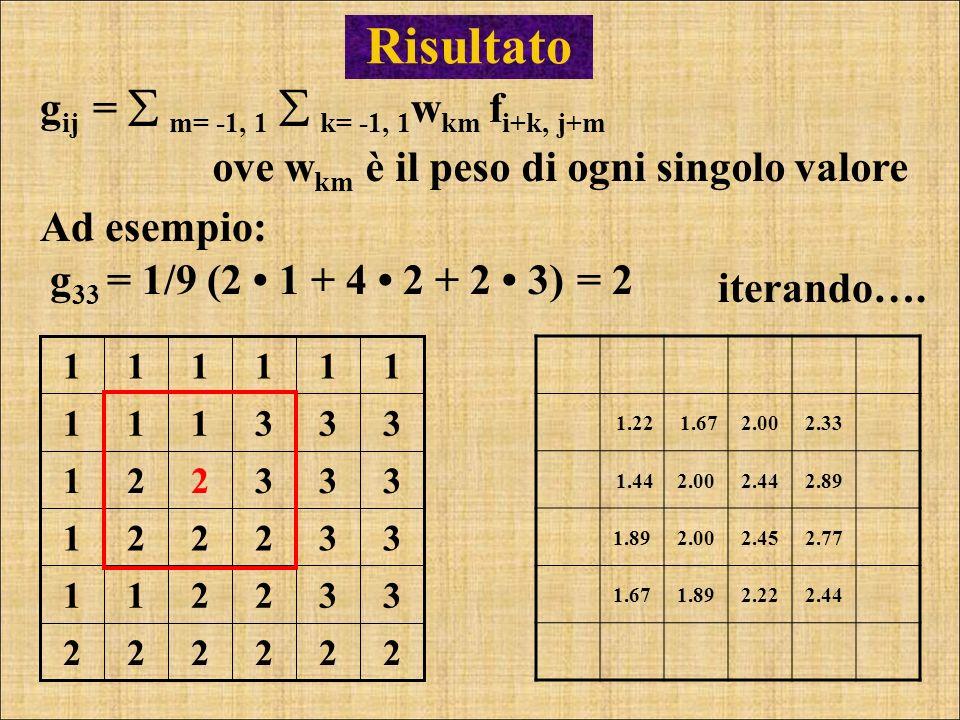 Risultato g 33 = 1/9 (2 1 + 4 2 + 2 3) g ij = m= -1, 1 k= -1, 1 w km f i+k, j+m = 2 ove w km è il peso di ogni singolo valore 1.22 1.672.002.33 1.442.