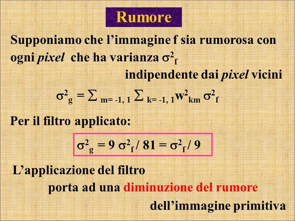 Rumore 2 g = m= -1, 1 k= -1, 1 w 2 km 2 f Supponiamo che limmagine f sia rumorosa con ogni pixel che ha varianza 2 f indipendente dai pixel vicini Per