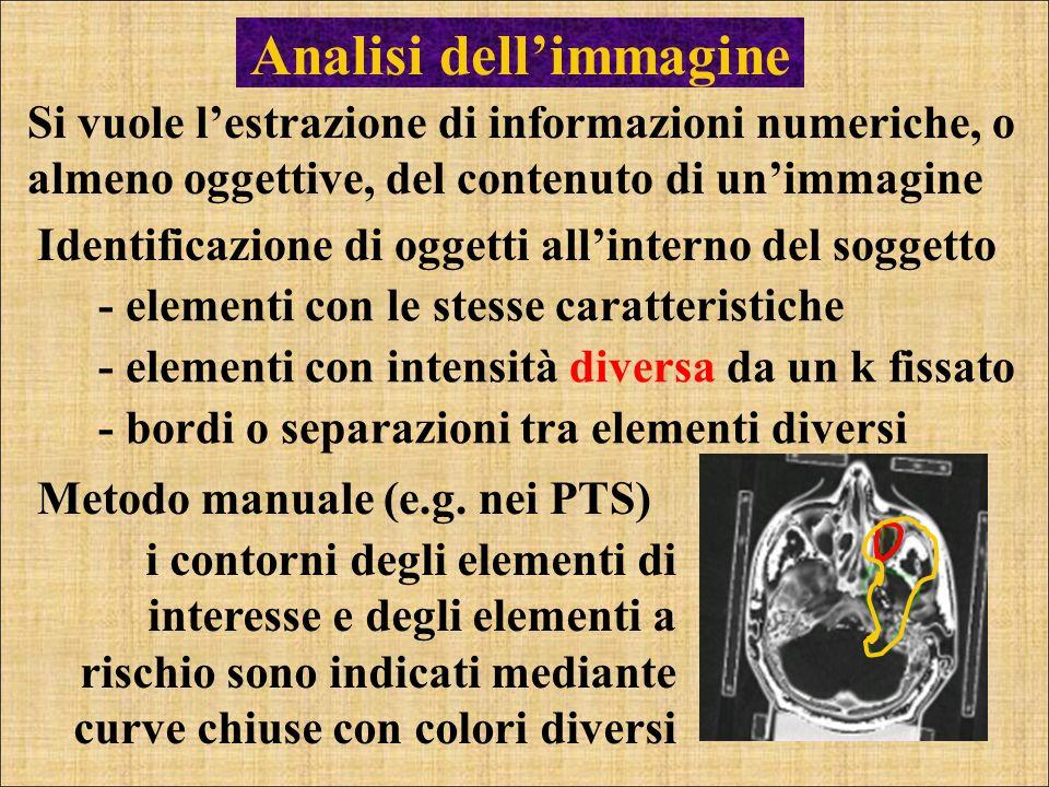 Analisi dellimmagine Si vuole lestrazione di informazioni numeriche, o almeno oggettive, del contenuto di unimmagine Identificazione di oggetti allint