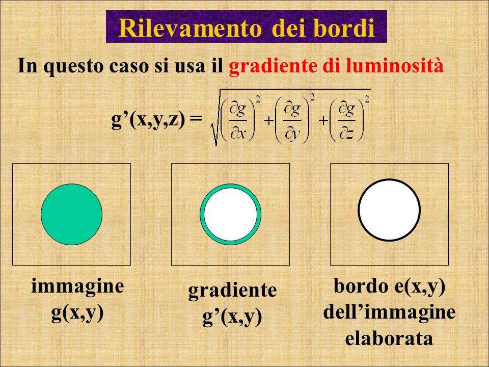 Rilevamento dei bordi In questo caso si usa il gradiente di luminosità g(x,y,z) = immagine g(x,y) bordo e(x,y) dellimmagine elaborata gradiente g(x,y)