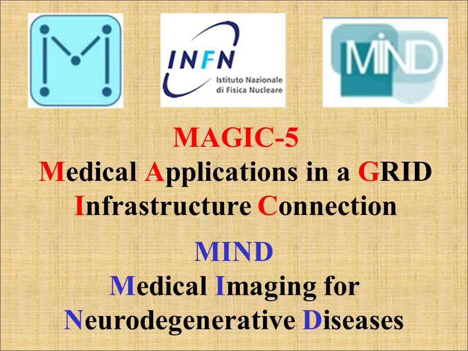 MAGIC-5 Medical Applications in a GRID Infrastructure Connection MIND Medical Imaging for Neurodegenerative Diseases