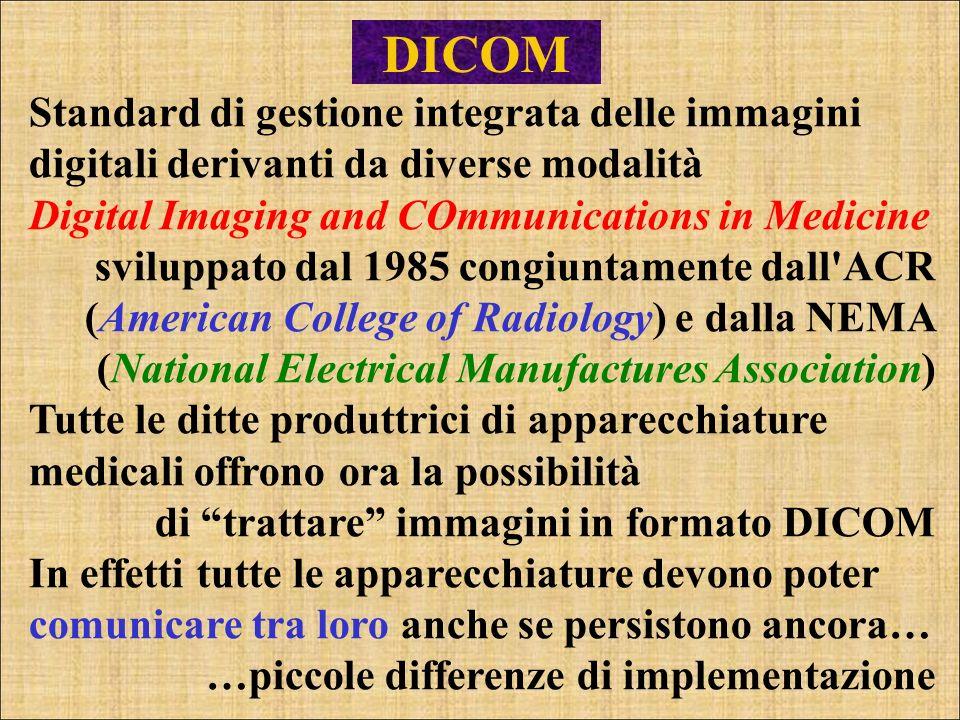 DICOM Standard di gestione integrata delle immagini digitali derivanti da diverse modalità Digital Imaging and COmmunications in Medicine sviluppato d