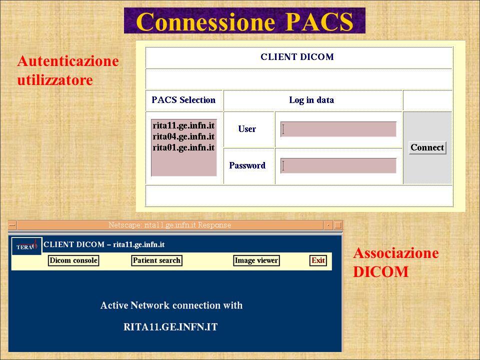 Autenticazione utilizzatore Associazione DICOM Connessione PACS