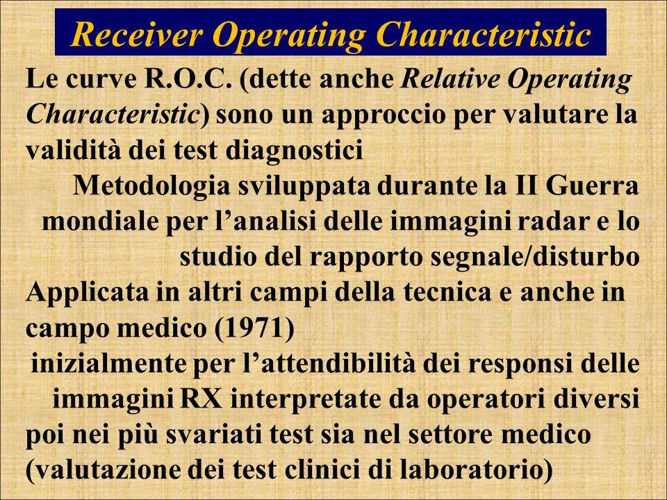 Receiver Operating Characteristic Le curve R.O.C. (dette anche Relative Operating Characteristic) sono un approccio per valutare la validità dei test