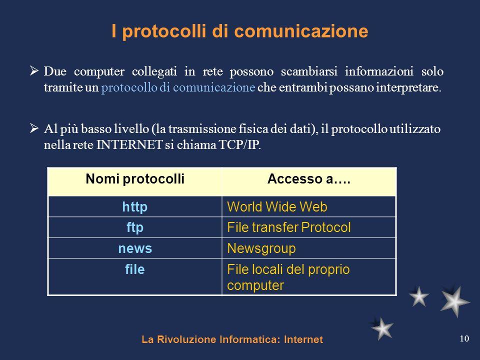 La Rivoluzione Informatica: Internet 10 I protocolli di comunicazione Nomi protocolliAccesso a…. httpWorld Wide Web ftpFile transfer Protocol newsNews
