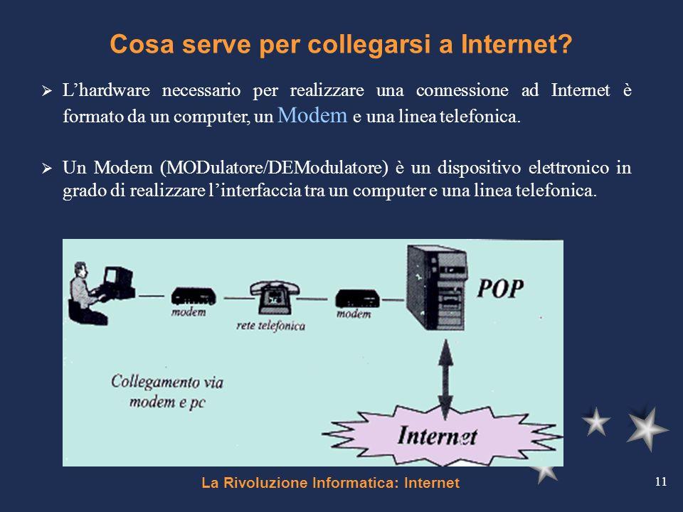 La Rivoluzione Informatica: Internet 11 Cosa serve per collegarsi a Internet? Lhardware necessario per realizzare una connessione ad Internet è format