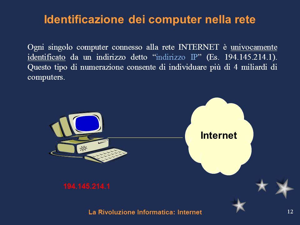 La Rivoluzione Informatica: Internet 12 Identificazione dei computer nella rete Ogni singolo computer connesso alla rete INTERNET è univocamente ident